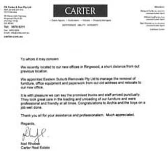 Testimonial from Carter Real Estate
